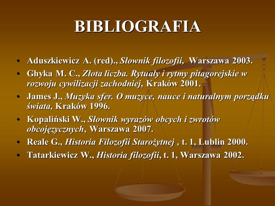 BIBLIOGRAFIA Aduszkiewicz A. (red)., Słownik filozofii, Warszawa 2003.Aduszkiewicz A. (red)., Słownik filozofii, Warszawa 2003. Ghyka M. C., Złota lic