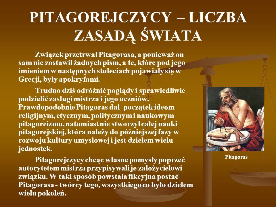 PITAGOREJCZYCY – LICZBA ZASADĄ ŚWIATA Związek przetrwał Pitagorasa, a ponieważ on sam nie zostawił żadnych pism, a te, które pod jego imieniem w nastę