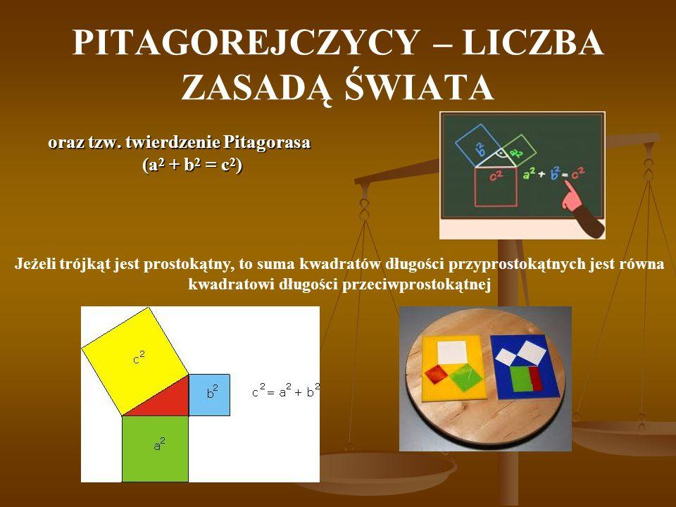 PITAGOREJCZYCY – LICZBA ZASADĄ ŚWIATA oraz tzw. twierdzenie Pitagorasa (a 2 + b 2 = c 2 ) Jeżeli trójkąt jest prostokątny, to suma kwadratów długości