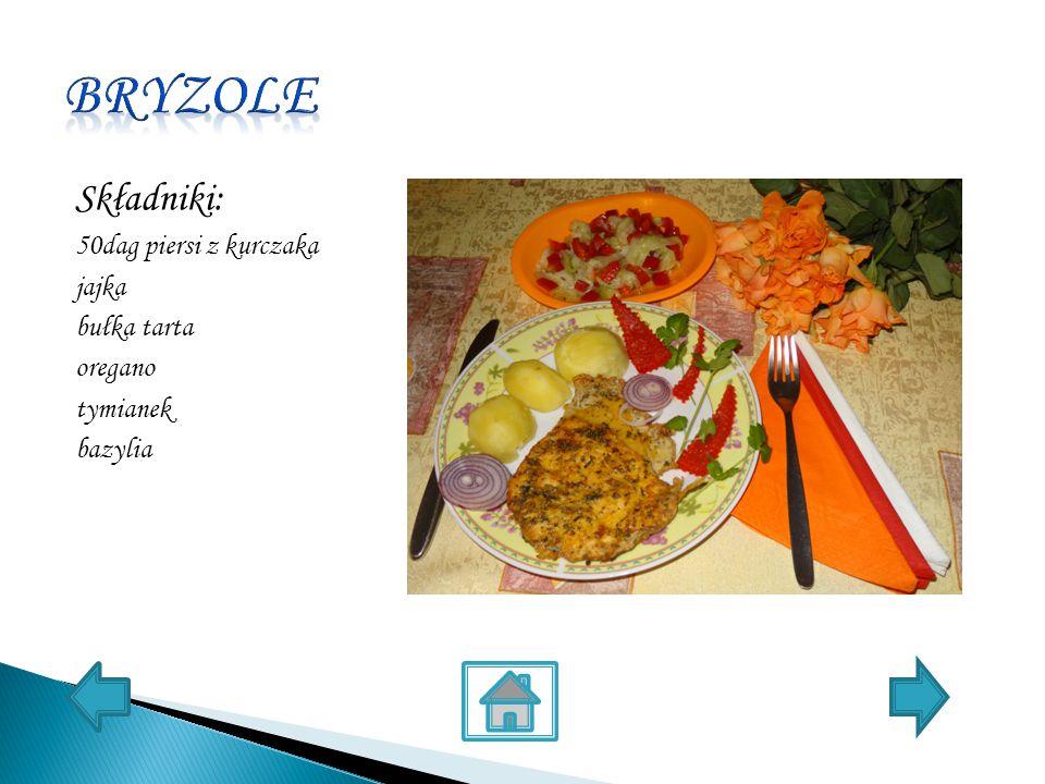 Składniki: 50dag piersi z kurczaka jajka bułka tarta oregano tymianek bazylia