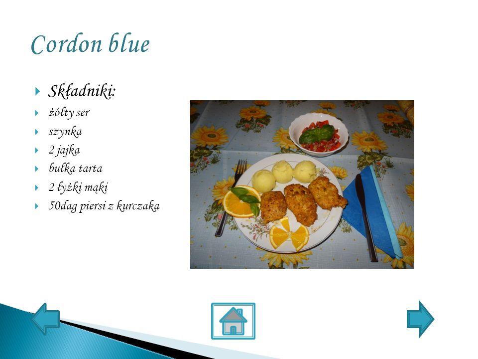  Składniki:  żółty ser  szynka  2 jajka  bułka tarta  2 łyżki mąki  50dag piersi z kurczaka
