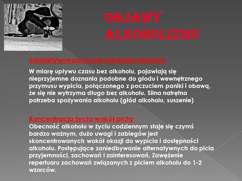 Subiektywne poczucie łaknienia alkoholu W miarę upływu czasu bez alkoholu, pojawiają się nieprzyjemne doznania podobne do głodu i wewnętrznego przymus