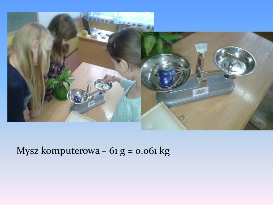 Mysz komputerowa – 61 g = 0,061 kg