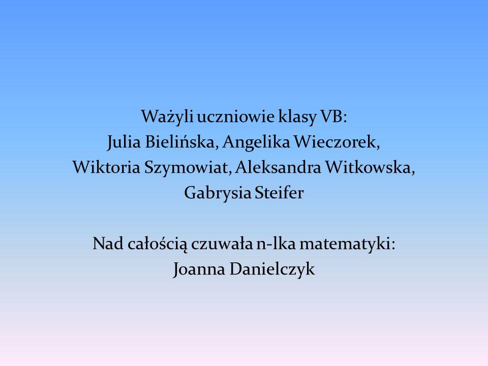Ważyli uczniowie klasy VB: Julia Bielińska, Angelika Wieczorek, Wiktoria Szymowiat, Aleksandra Witkowska, Gabrysia Steifer Nad całością czuwała n-lka matematyki: Joanna Danielczyk