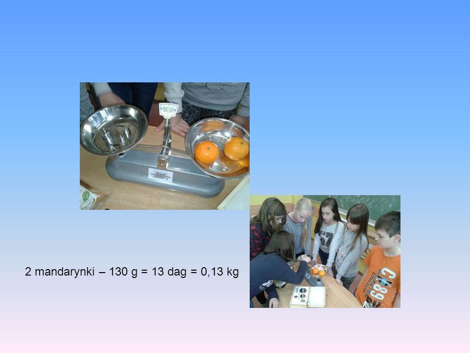 2 mandarynki – 130 g = 13 dag = 0,13 kg