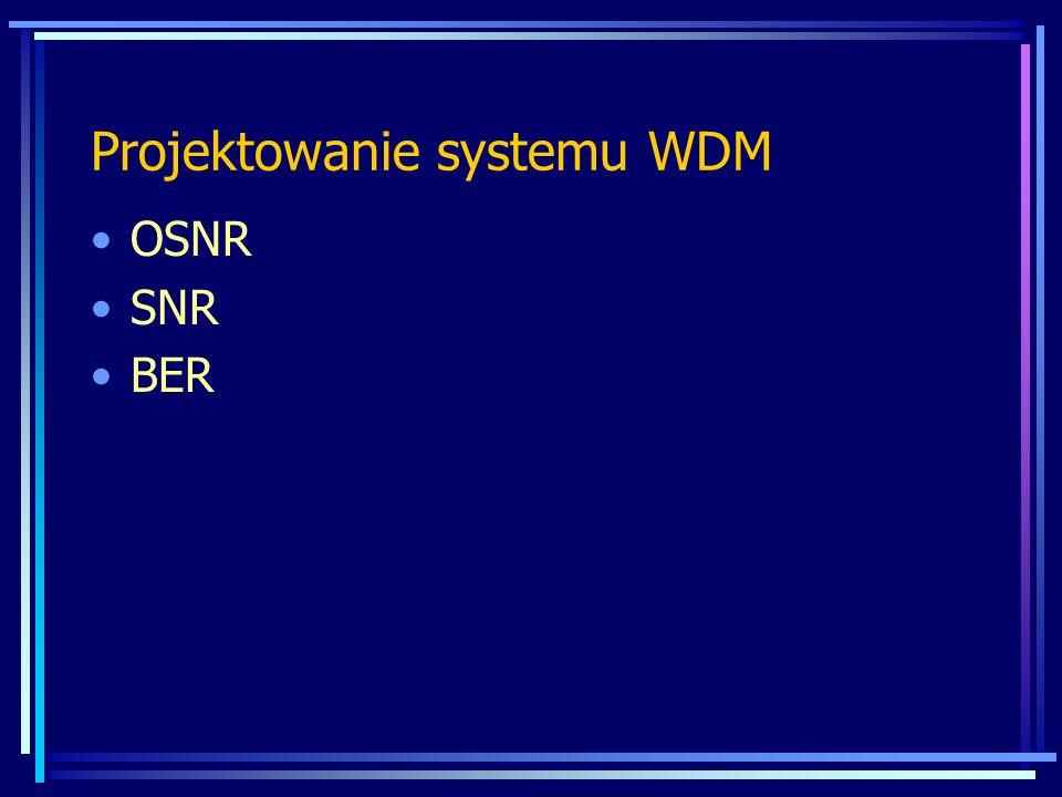 Projektowanie systemu WDM Moc wyjściowa nadajnika dla 2,5 Gbit/s 3 dBm » 10 Gbit/s 0 dBm Czułość odbornika dla 2,5 Gbit/s -23 dBm » 10 Gbit/s -16 dBm Dyspersja chromatyczna (wartość, nachylenie) Dyspersja polaryzacyjna