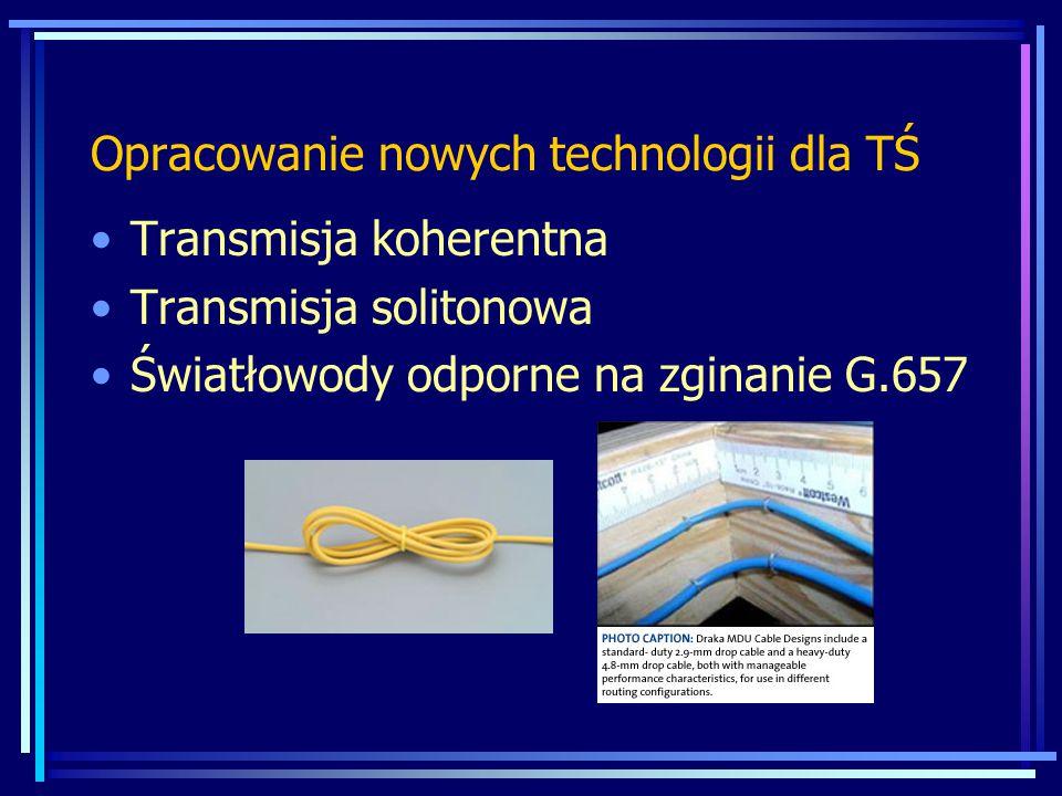 Opracowanie nowych technologii dla TŚ Transmisja koherentna Transmisja solitonowa Światłowody odporne na zginanie G.657
