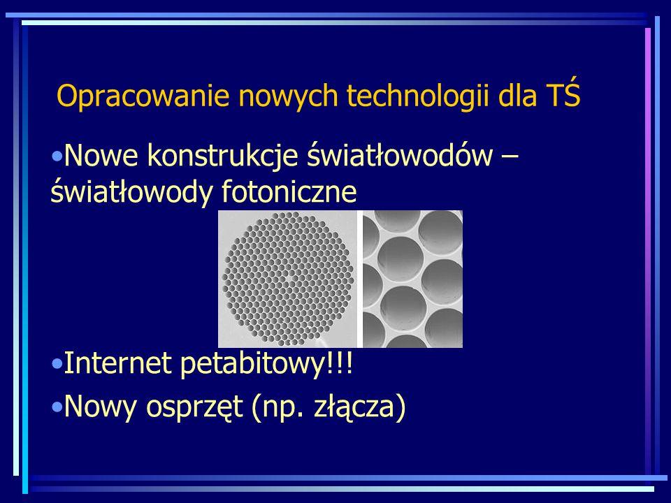 Opracowanie nowych technologii dla TŚ Nowe konstrukcje światłowodów – światłowody fotoniczne Internet petabitowy!!! Nowy osprzęt (np. złącza)