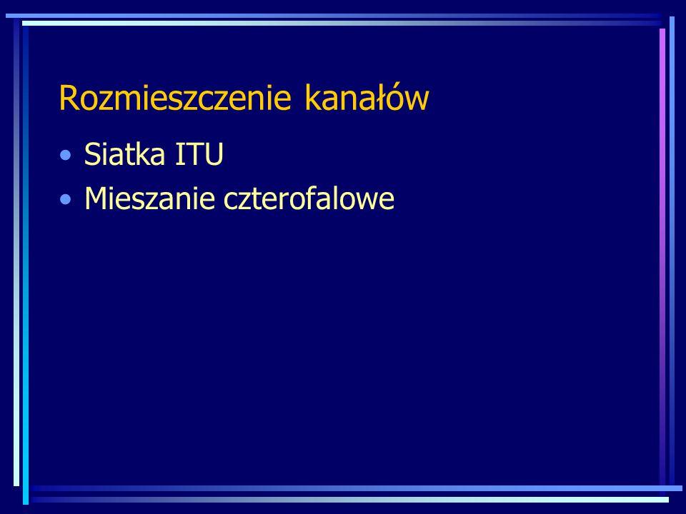 System WDM Siatka ITU (zgodnie z ITU-T G.692, G.694.1, G.694.2) 18 kanałów między 1271 ÷ 1611 nm 1271,1291,1311,1331,1351,1371,1391,1411,1431,1451, 1471,1491,1511,1531,1551,1571,1591,1611