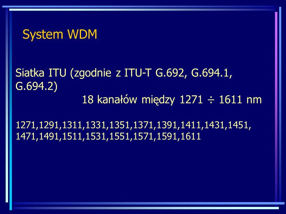 System WDM Siatka ITU (zgodnie z ITU-T G.692, G.694.1, G.694.2) 18 kanałów między 1271 ÷ 1611 nm 1271,1291,1311,1331,1351,1371,1391,1411,1431,1451, 14