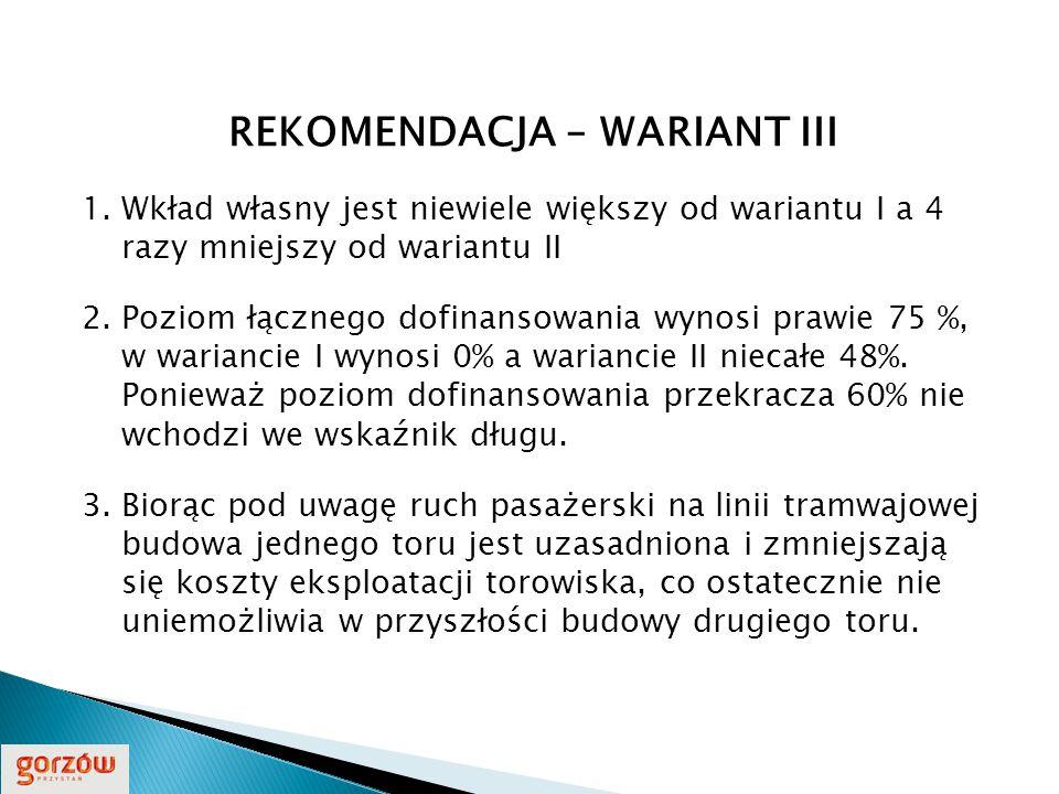 REKOMENDACJA – WARIANT III 1.Wkład własny jest niewiele większy od wariantu I a 4 razy mniejszy od wariantu II 2.Poziom łącznego dofinansowania wynosi prawie 75 %, w wariancie I wynosi 0% a wariancie II niecałe 48%.