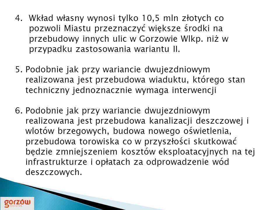 4.Wkład własny wynosi tylko 10,5 mln złotych co pozwoli Miastu przeznaczyć większe środki na przebudowy innych ulic w Gorzowie Wlkp.