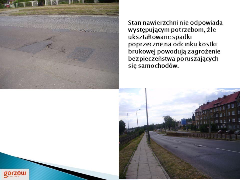 Stan nawierzchni nie odpowiada występującym potrzebom, źle ukształtowane spadki poprzeczne na odcinku kostki brukowej powodują zagrożenie bezpieczeństwa poruszających się samochodów.