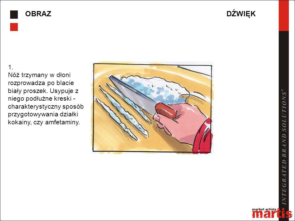 OBRAZDŹWIĘK 1. Nóż trzymany w dłoni rozprowadza po blacie biały proszek. Usypuje z niego podłużne kreski - charakterystyczny sposób przygotowywania dz
