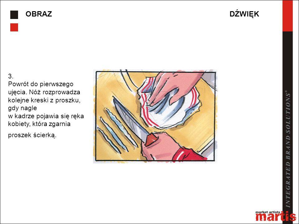OBRAZDŹWIĘK 3. Powrót do pierwszego ujęcia. Nóż rozprowadza kolejne kreski z proszku, gdy nagle w kadrze pojawia się ręka kobiety, która zgarnia prosz