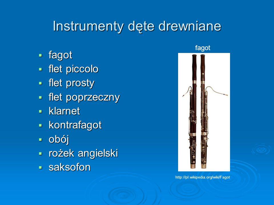 Instrumenty dęte drewniane  fagot  flet piccolo  flet prosty  flet poprzeczny  klarnet  kontrafagot  obój  rożek angielski  saksofon fagot ht