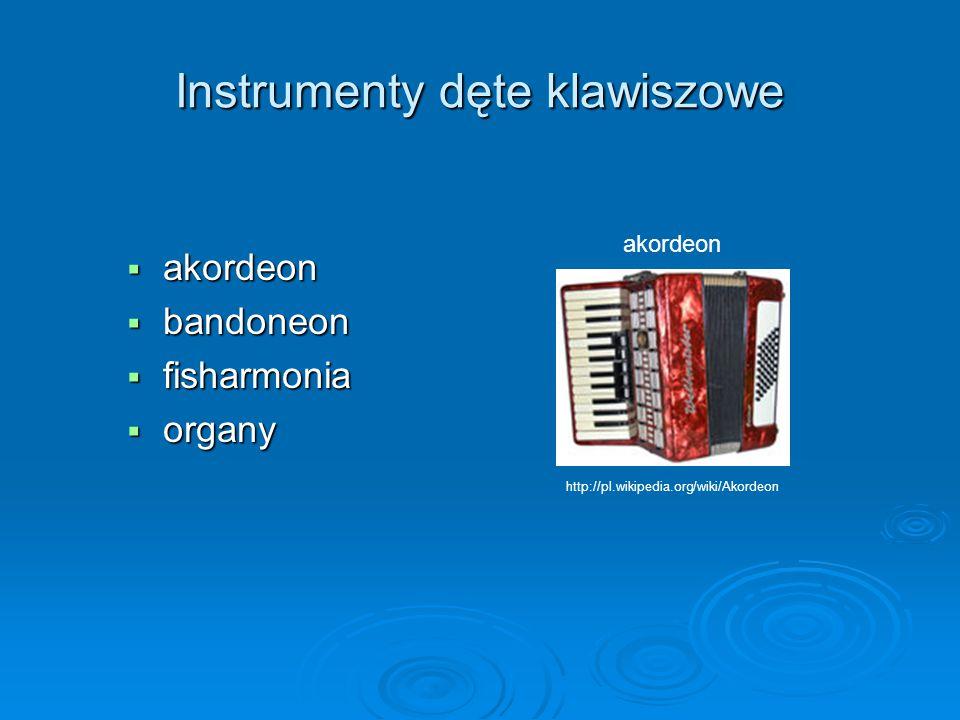 Instrumenty dęte klawiszowe  akordeon  bandoneon  fisharmonia  organy akordeon http://pl.wikipedia.org/wiki/Akordeon