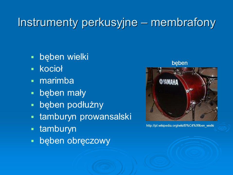 Instrumenty perkusyjne – membrafony   bęben wielki   kocioł   marimba   bęben mały   bęben podłużny   tamburyn prowansalski   tamburyn 