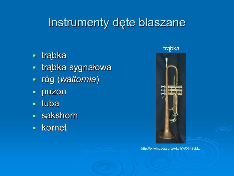 Instrumenty dęte blaszane  trąbka  trąbka sygnałowa  róg (waltornia)  puzon  tuba  sakshorn  kornet trąbka http://pl.wikipedia.org/wiki/Tr%C4%8
