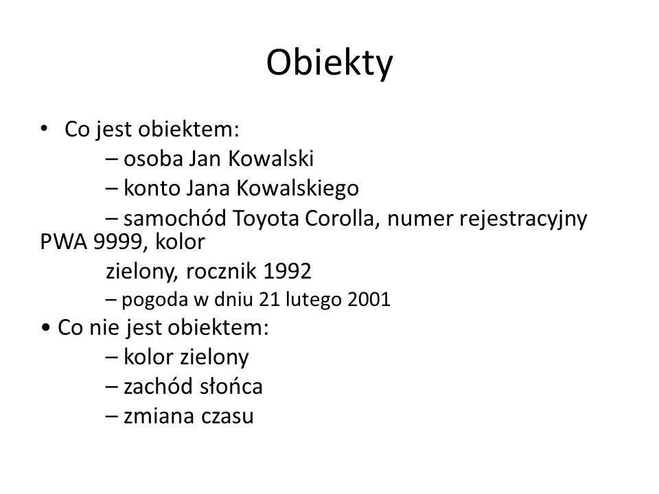 Obiekty Co jest obiektem: – osoba Jan Kowalski – konto Jana Kowalskiego – samochód Toyota Corolla, numer rejestracyjny PWA 9999, kolor zielony, roczni