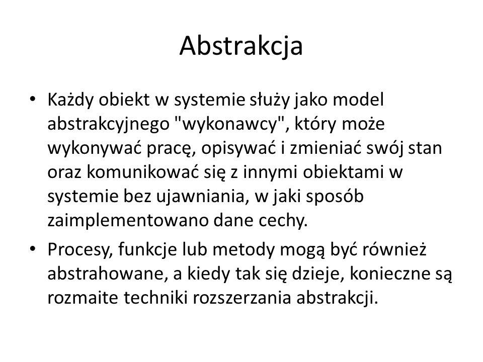 Abstrakcja Każdy obiekt w systemie służy jako model abstrakcyjnego