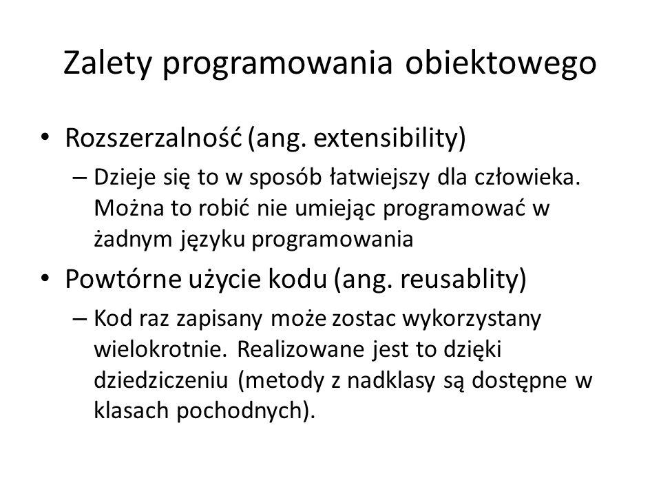 Zalety programowania obiektowego Rozszerzalność (ang. extensibility) – Dzieje się to w sposób łatwiejszy dla człowieka. Można to robić nie umiejąc pro
