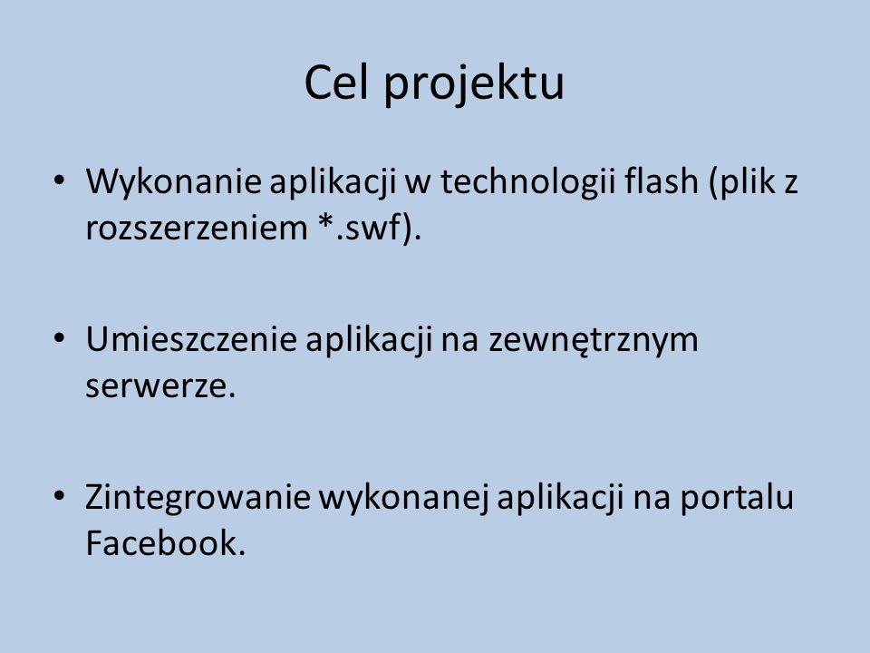 Cel projektu Wykonanie aplikacji w technologii flash (plik z rozszerzeniem *.swf).