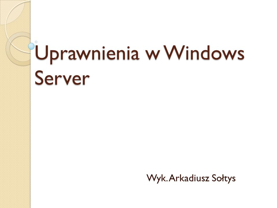 Uprawnienia w windows server