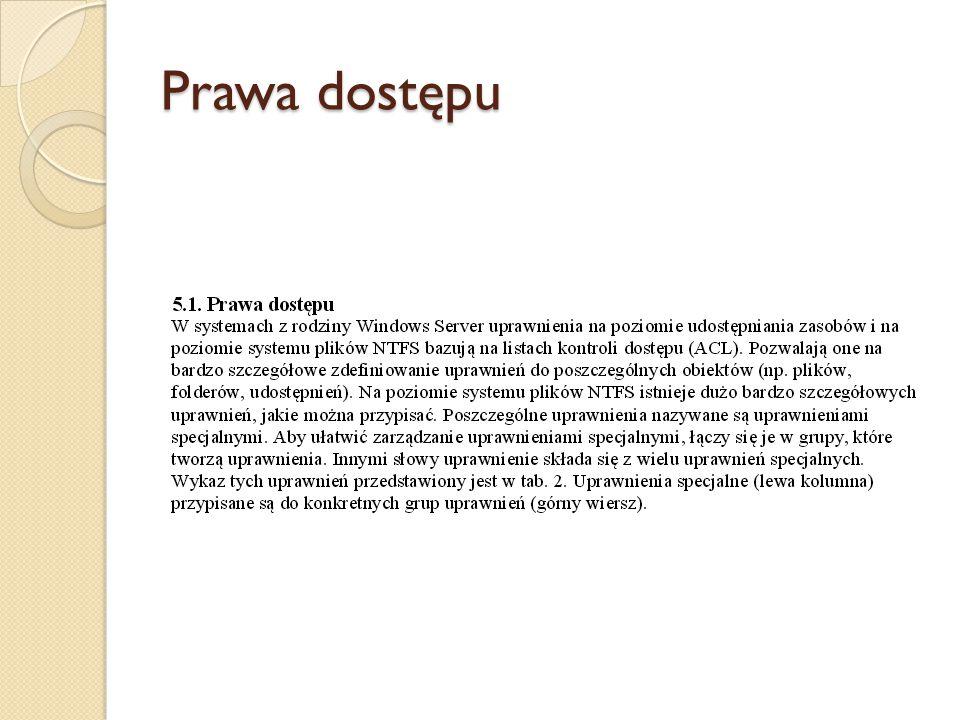 Prawa dostępu użytkowników Domyślne ustawienie w systemie Windows Server 2003 Zmiana żetonu na poziomie procesu Usługa Lokalna, Usługa Sieciowa Logowanie w trybie wsadowym Usługa Lokalna Wykonywanie kopii zapasowych plików i folderów Administratorzy, Operatorzy Kopii Zapasowych Pomijanie sprawdzania przebiegu Administratorzy, Operatorzy Kopii Zapasowych, Użytkownicy Zaawansowani, Users, Everyone Tworzenie pliku stronicowania Administratorzy Tworzenie stale udostępnianych obiektów Tworzenie żetonu Debugowanie programów Administratorzy Zwiększenie priorytetu szeregowania Administratorzy Dopasowywanie przydziałów pamięci dla procesu Administratorzy, Usługa Lokalna, Usługa Sieciowa Logowanie interaktywne Administratorzy, Operatorzy Kopii Zapasowych, Użytkownicy Zaawansowani, Użytkownicy, Gość Ładowanie i usuwanie sterowników Administratorzy Blokowanie stron w pamięci Dodawanie stacji roboczej do domeny Administratorzy, Użytkownicy Pulpitu Zdalnego Tworzenie obiektów globalnych Administratorzy, Usłiga Generowanie zdarzeń inspekcji Usługa Lokalna, Usługa Sieciowa Wymuszanie zamknięcia systemu z komputera zdalnego Administratorzy Przywracanie plików i folderów Administratorzy, Operatorzy Kopii Zapasowych Zarządzanie inspekcją Administratorzy Logowanie w trybie usługi Usługa Sieciowa Zamykanie systemu Administratorzy, Operatorzy Kopii Zapasowych, Użytkownicy Zaawansowani Modyfikowanie zmiennych środowiskowych systemu Administratorzy Przeprowadzanie zadań konserwacji woluminów Administratorzy Profilowanie wydajności systemu Administratorzy Zmiana czasu systemowego Administratorzy, Użytkownicy Zaawansowani Przejęcie na własność Administratorzy Działanie jako cześć systemu operacyjnego