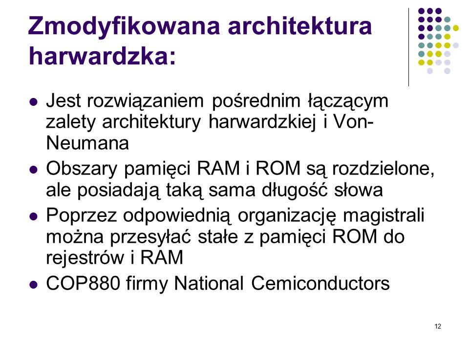 12 Zmodyfikowana architektura harwardzka: Jest rozwiązaniem pośrednim łączącym zalety architektury harwardzkiej i Von- Neumana Obszary pamięci RAM i R