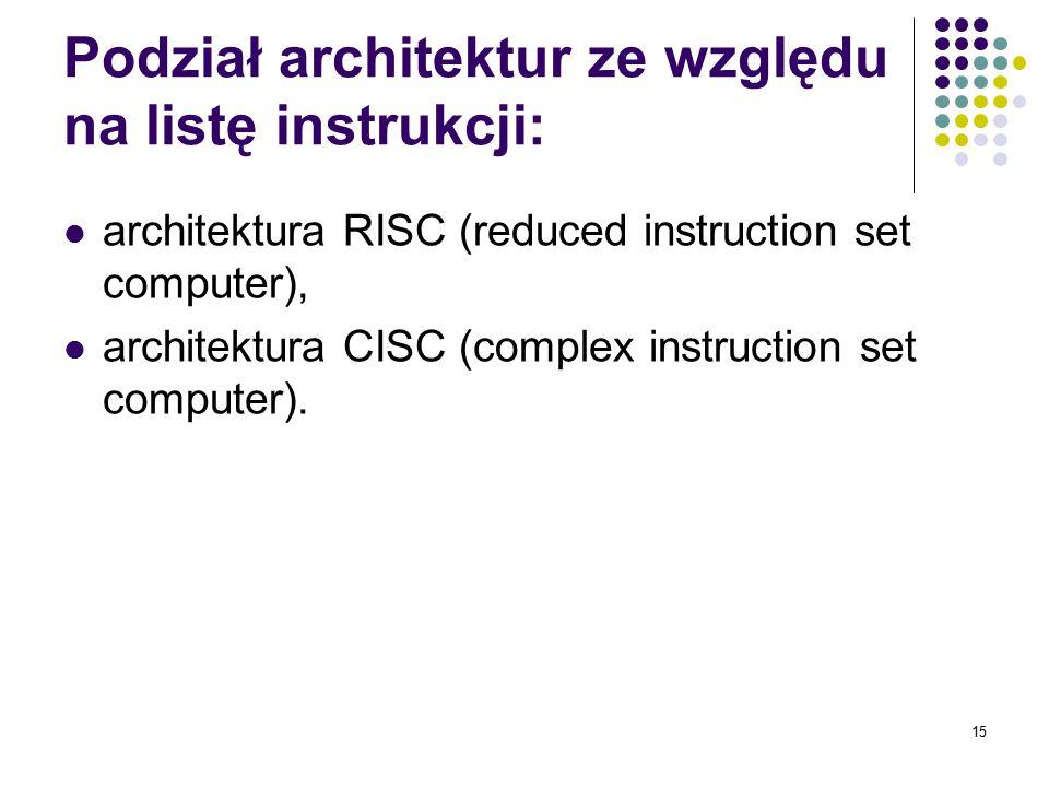 15 Podział architektur ze względu na listę instrukcji: architektura RISC (reduced instruction set computer), architektura CISC (complex instruction se