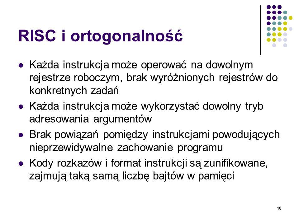 18 RISC i ortogonalność Każda instrukcja może operować na dowolnym rejestrze roboczym, brak wyróżnionych rejestrów do konkretnych zadań Każda instrukc