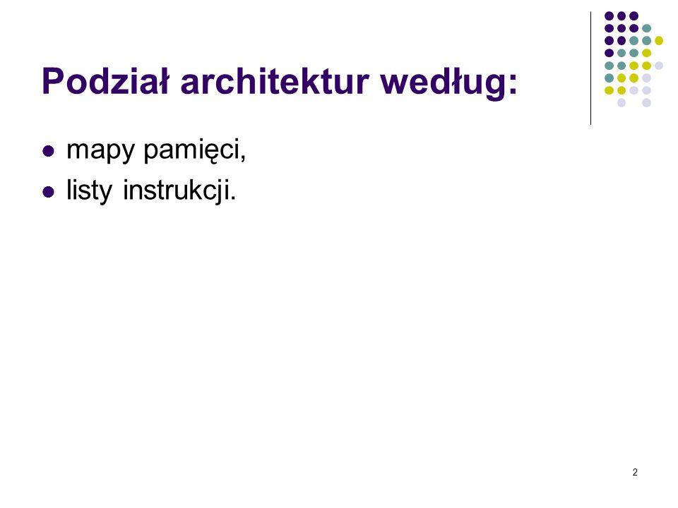 2 Podział architektur według: mapy pamięci, listy instrukcji.