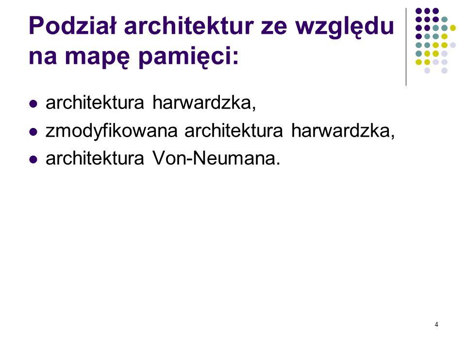 4 Podział architektur ze względu na mapę pamięci: architektura harwardzka, zmodyfikowana architektura harwardzka, architektura Von-Neumana.