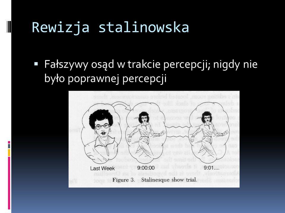 Rewizja stalinowska  Fałszywy osąd w trakcie percepcji; nigdy nie było poprawnej percepcji