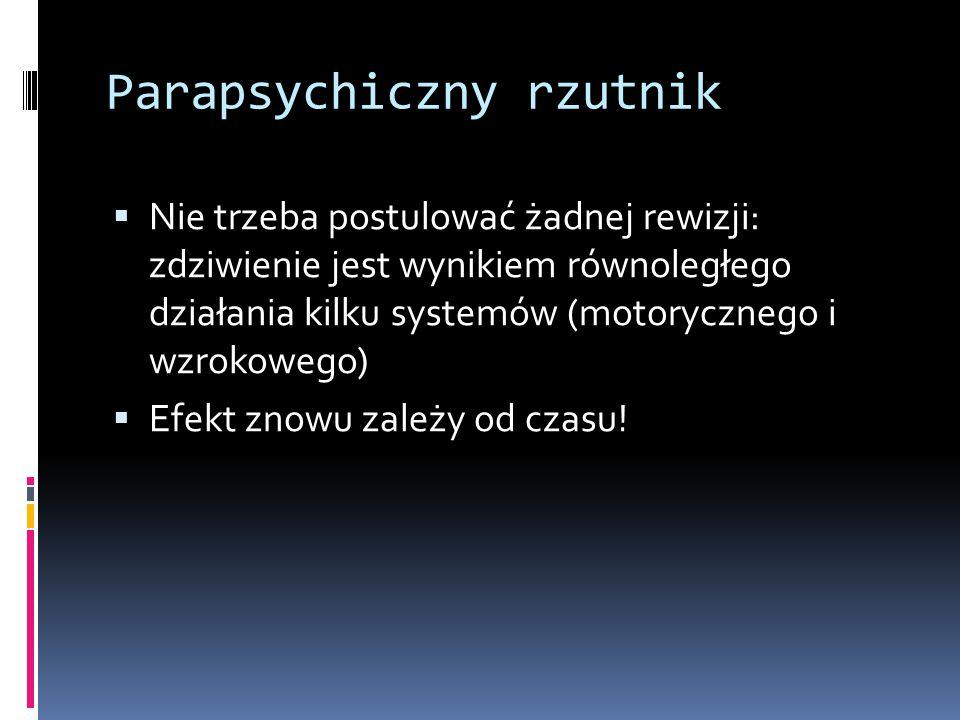 Parapsychiczny rzutnik  Nie trzeba postulować żadnej rewizji: zdziwienie jest wynikiem równoległego działania kilku systemów (motorycznego i wzrokowego)  Efekt znowu zależy od czasu!