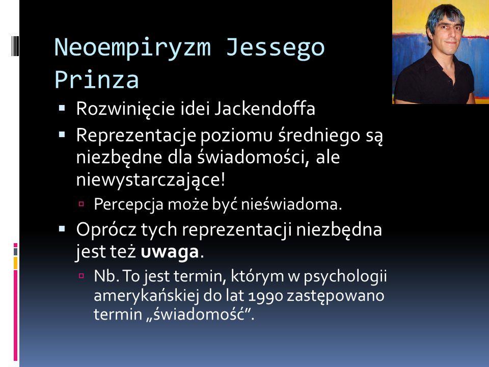 Neoempiryzm Jessego Prinza  Rozwinięcie idei Jackendoffa  Reprezentacje poziomu średniego są niezbędne dla świadomości, ale niewystarczające.