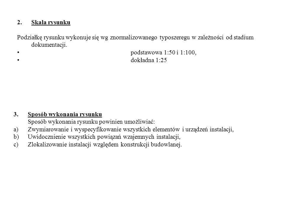 2.Skala rysunku Podziałkę rysunku wykonuje się wg znormalizowanego typoszeregu w zależności od stadium dokumentacji.