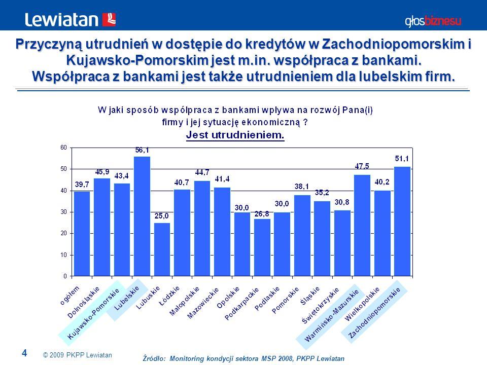 4 Źródło: Monitoring kondycji sektora MSP 2008, PKPP Lewiatan Przyczyną utrudnień w dostępie do kredytów w Zachodniopomorskim i Kujawsko-Pomorskim jest m.in.
