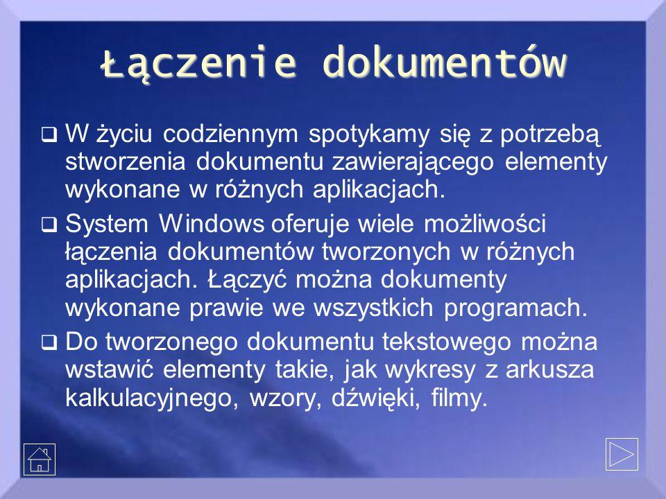 Łączenie dokumentów  W życiu codziennym spotykamy się z potrzebą stworzenia dokumentu zawierającego elementy wykonane w różnych aplikacjach.