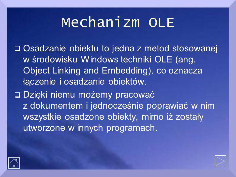 Mechanizm OLE  Osadzanie obiektu to jedna z metod stosowanej w środowisku Windows techniki OLE (ang.