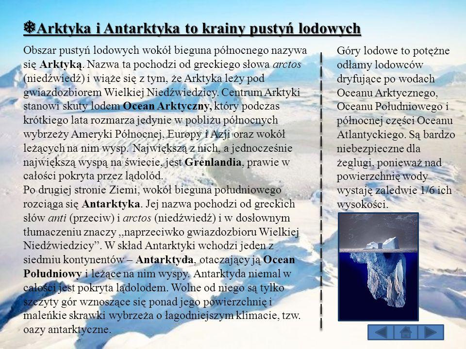❅ Arktyka i Antarktyka to krainy pustyń lodowych Obszar pustyń lodowych wokół bieguna północnego nazywa się Arktyką. Nazwa ta pochodzi od greckiego sł