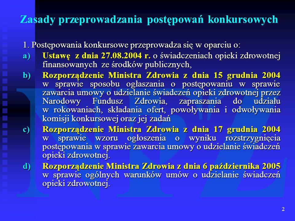 2 Zasady przeprowadzania postępowań konkursowych 1.