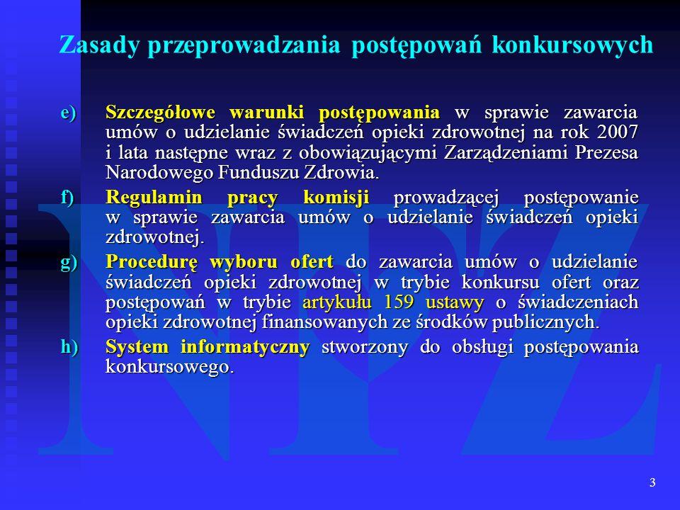 3 e)Szczegółowe warunki postępowania w sprawie zawarcia umów o udzielanie świadczeń opieki zdrowotnej na rok 2007 i lata następne wraz z obowiązującymi Zarządzeniami Prezesa Narodowego Funduszu Zdrowia.