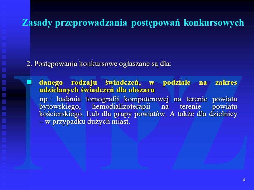 4 2. Postępowania konkursowe ogłaszane są dla: danego rodzaju świadczeń, w podziale na zakres udzielanych świadczeń dla obszaru danego rodzaju świadcz