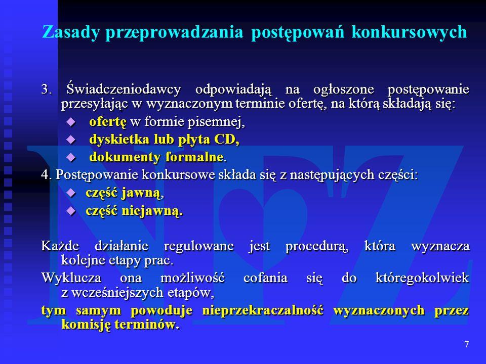 7 3. Świadczeniodawcy odpowiadają na ogłoszone postępowanie przesyłając w wyznaczonym terminie ofertę, na którą składają się:  ofertę w formie pisemn