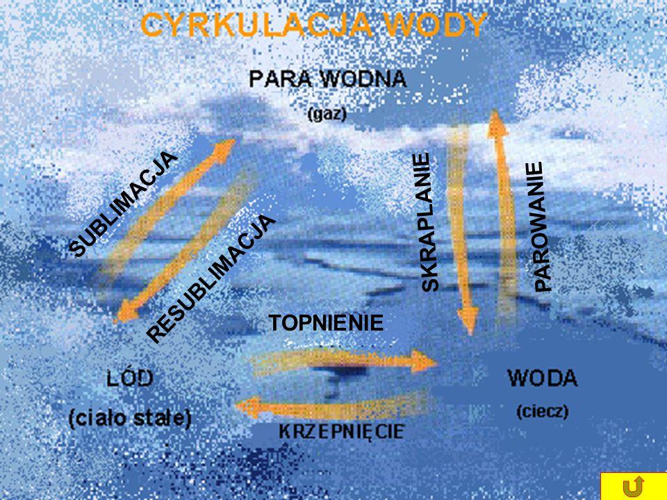 Każdy element diagramu przedstawia jedną z form magazynowania wody. Tylko niewielka część ziemskich zasobów wody bierze udział w jej nieustannej cyrku