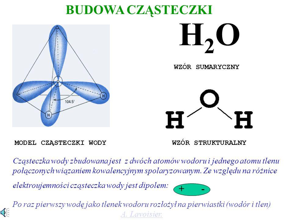 H2OH2O WZÓR SUMARYCZNY MODEL CZĄSTECZKI WODY WZÓR STRUKTURALNY Cząsteczka wody zbudowana jest z dwóch atomów wodoru i jednego atomu tlenu połączonych wiązaniem kowalencyjnym spolaryzowanym.
