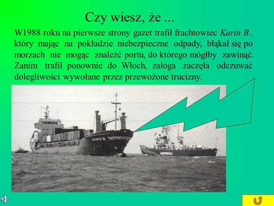 Zanieczyszczenie oceanów i mórz Widoczny na zdjęciu frachtowiec Anson wypuszcza do morza jarozyt (siarczan VI żelaza III i potasu). Toksyczne odpady w
