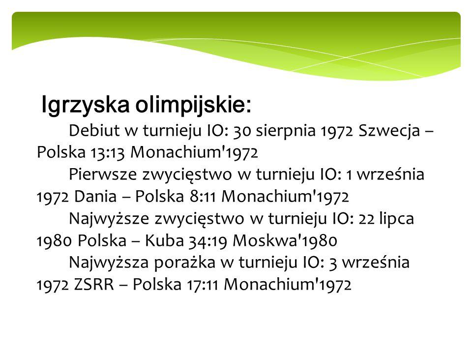 Igrzyska olimpijskie: Debiut w turnieju IO: 30 sierpnia 1972 Szwecja – Polska 13:13 Monachium'1972 Pierwsze zwycięstwo w turnieju IO: 1 września 1972